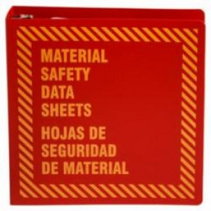 Brady® Prinzing® 48757R MSDS Binder, Material Safety Data Sheets/Hojas de Seguridad de Material, Bilingual, Yellow on Red, 2-1/2 in Ring, 11-5/8 in H