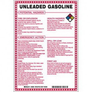 Brady® 48895 Hazardous Material Sign, 10 in H x 7 in W, Black/Red/Blue/Yellow on White, B-120 Premium Fiberglass