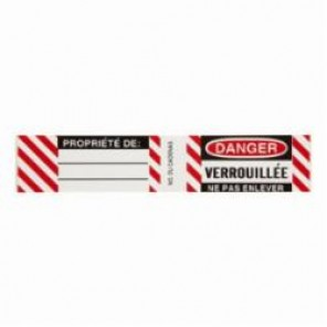 Brady® 50283 Write-On Padlock Label, 3/4 in H x 4-1/2 in W, Black/Red on White, B-826 Vinyl