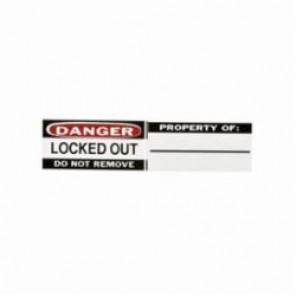 Brady® 50289 Write-On Padlock Label, 0.8 in H x 1.1 in W, Black/Red on White, B-826 Vinyl