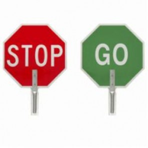 Brady® 55775 Traffic Control Paddle, STOP/GO, Aluminum, Side 1: White on Red/Side 2: White on Green