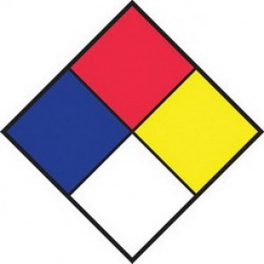 Brady® 58274 NFPA Placard, 10 in H x 10 in W, Black/Red/Blue/Yellow on White