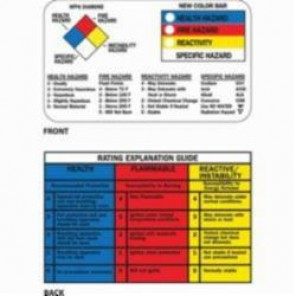 Brady® 58515 Right-to-Know Wallet Card, 2-1/8 in H x 3-3/8 in W, Black/Red/Blue/Yellow on White