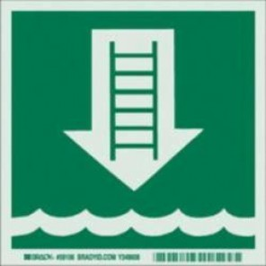 Brady® 59106 Square Marine Label, 6 in H x 6 in W, White On Green, B-324 Glow-In-The-Dark Polyester