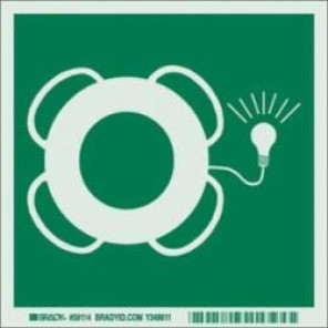 Brady® 59114 IMO Evacuation Sign, 6 in H x 6 in W, Light Green on Green, Self-Adhesive Mount, B-324 Glow-In-The-Dark Polyester