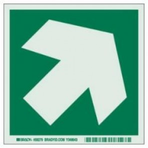 Brady® 59279 IMO Evacuation Sign, 6 in H x 6 in W, Light Green on Green, Self-Adhesive Mount, B-324 Glow-In-The-Dark Polyester