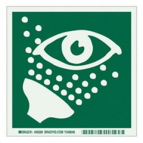 Brady® 59289 Eye Wash Sign, 6 in H x 6 in W, Light Green on Green, Self-Adhesive Mount