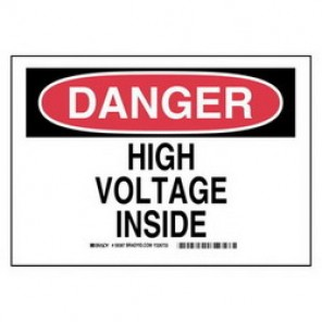 Brady® 59385 Electrical Hazard Sign, 10 in W x 7 in H, DANGER HIGH VOLTAGE INSIDE, Black/Red on White, B-302 Polyester