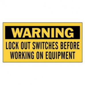 Brady® 60177 Lockout Sign, 2-1/4 in H x 4-1/2 in W, Black on Yellow, Self-Adhesive Mount, B-946 Vinyl
