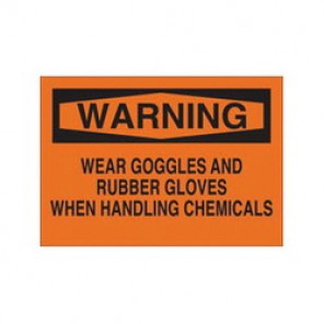 Brady® 69615 Chemical & Hazardous Material Sign, 10 in H x 14 in W, Black on Orange, Surface Mount
