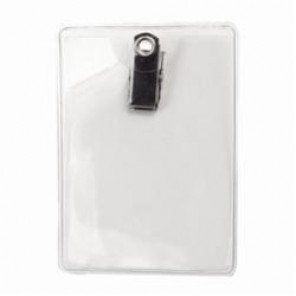 Brady® 69721 Clip-On Vertical Badge Holder, Vinyl, Clear