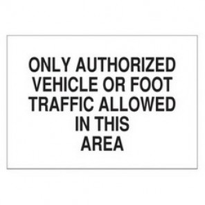 Brady® 70747 Admittance Sign, 10 in H x 14 in W, Black on White, Surface Mount, B-120 Premium Fiberglass