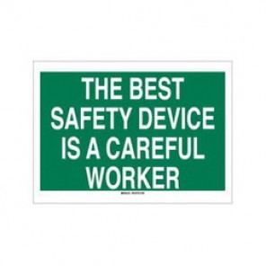Brady® 73423 Safety Slogan Sign, 20 in H x 28 in W, White on Green, Surface Mount, B-120 Premium Fiberglass
