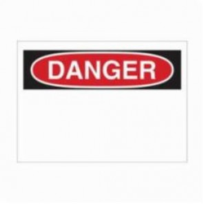Brady® 78066 Preprinted Header Rectangle Blank Safety Sign, 10 in H x 14 in W, Black/Red on White, B-836 Polypropylene