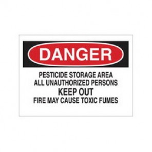 Brady® 84431 Laminated Chemical & Hazardous Material Sign, 10 in H x 14 in W, Black/Red on White, Surface Mount