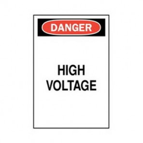 Brady® 84879 Electrical Hazard Sign, 10 in W x 14 in H, DANGER HIGH VOLTAGE, Black/Red on White, B-302 Polyester