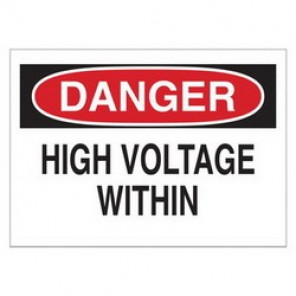 Brady® 84906 Electrical Hazard Sign, 14 in W x 10 in H, DANGER HIGH VOLTAGE WITHIN, Black/Red on White, B-302 Polyester