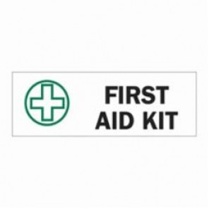 Brady® 85361 First Aid Sign, 3-1/2 in H x 10 in W, Green/Black on White, Surface Mount, B-302 Polyester