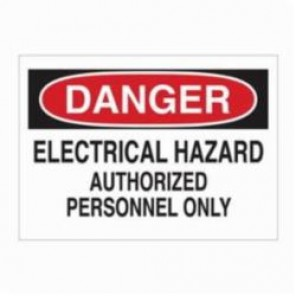 Brady® 87755 Laminated Rectangle Admittance Sign, 3-1/2 in H x 5 in W, Black/Red on White, Self-Adhesive/Surface Mount, B-302 Polyester