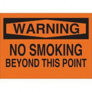 Brady® 88403 No Smoking Sign, 10 in H x 14 in W, Black on Orange, Surface Mount, B-302 Polyester