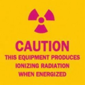 Brady® 88745 Rectangle Radiation & Laser Sign, 2-1/4 in H x 2-1/4 in W, Pink on Yellow, Surface Mount, B-302 Polyester