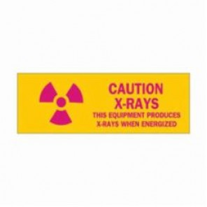 Brady® 88752 Caution Radiation Sign, 3-1/2 in H x 10 in W, Pink on Yellow, Surface Mount, B-302 Polyester