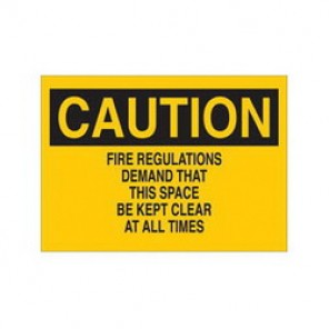 Brady® 89106 Fire Sign, 7 in H x 10 in W, Black on Yellow, Surface Mount, B-302 Polyester