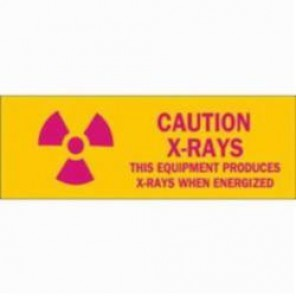 Brady® 89171 Rectangle Radiation & Laser Sign, 2-1/4 in H x 2-1/4 in W, Pink on Yellow, Self-Adhesive/Surface Mount, B-302 Polyester