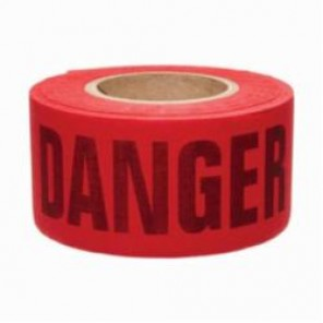 Brady® 91084 Re-Pulpable Woven Barricade Tape, DANGER, 3 in W x 50 yd L, Black on Red, Bio-Degradable Cotton