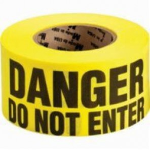 Brady® 91087 Re-Pulpable Woven Barricade Tape, DANGER DO NOT ENTER, 3 in W x 50 yd L, Black on Yellow, Bio-Degradable Cotton