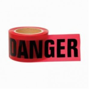 Brady® 91200 Lightweight Barricade Tape, DANGER, 3 in W x 200 ft L, Red/Black, Polyethylene