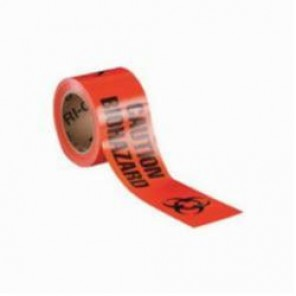 Brady® 91447 Non-Adhesive Barricade Tape, CAUTION BIOHAZARD, 3 in W x 200 ft L, Black on Orange, B-912 Polyethylene