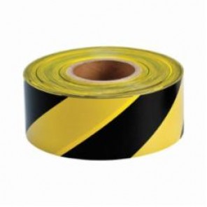 Brady® 91454 Lightweight Barricade Tape, Diagonal Warning Stripes, 3 in W x 1000 ft L, Yellow/Black, Polyethylene