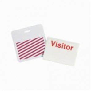 Brady® 95647 SecurAlert® 1-Day Color Card Clip-on Badge, Visitor, 3 in W x 3 in H, White