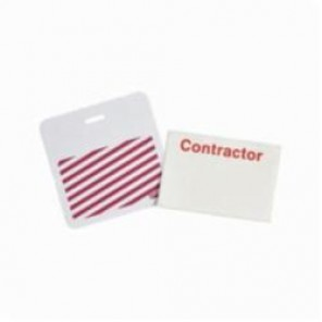 Brady® 95662 SecurAlert® 1 Week Color Card Clip-on Badge, Contractor, 3 in W x 3 in H, White
