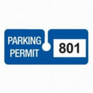 Brady® 96287 SecurAlert® Rearview Mirror Hanging Tag, Parking Permit, 4-3/4 in W x 2 in H, Blue