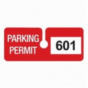 Brady® 96294 SecurAlert® Rearview Mirror Hanging Tag, Parking Permit, 4-3/4 in W x 2 in H, Red