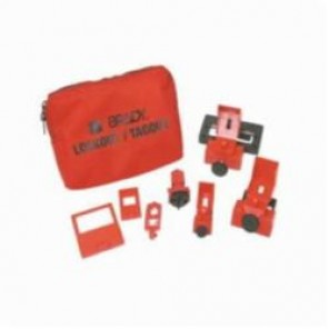 Brady® 99293 Filled Portable Lockout Kit, 6 Pieces, Black on Red, Nylon, For Use With Electrical Lockout