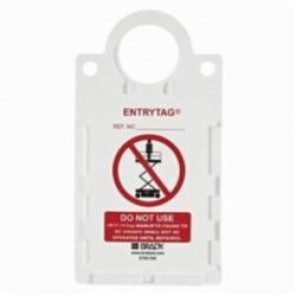 Brady® ENT-ETSH 506 Rectangle Manlift Tag Holder, For Use With EntryTag® Tagging System, Red on White
