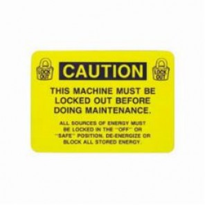 Brady® LOSV2 Lockout Label, 3 in H x 5 in W, Black on Yellow, B-946 Vinyl