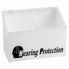 Brady® Prinzing® PD265E Divided Hearing Protection Dispenser With Clear Lid, Tabletop Mount, Black on White, Acrylic Glass