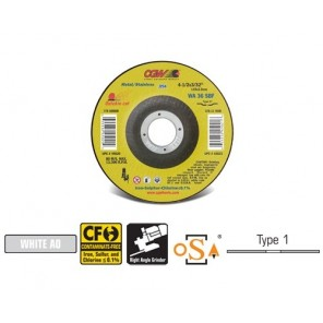 CGW® 45028 Straight Thin Reinforced Type 1 Cut-Off Wheel, 4-1/2 in Dia x 3/32 in THK, 7/8 in, 36 Grit