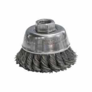 CGW® 49645 Fast Cut Cup Brush, 2-3/4 in Dia, 5/8-11, 0.014 mm Carbon Knot Wire
