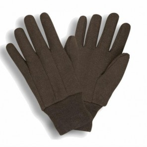 1400P Brown Jersey Gloves, Standard Weight, Clute Weight, Knit Wrist