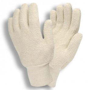 Cordova 3218 Loop-Out General Purpose Gloves, 18 oz Terrycloth, Knit Wrist, Natural Color, Dozen