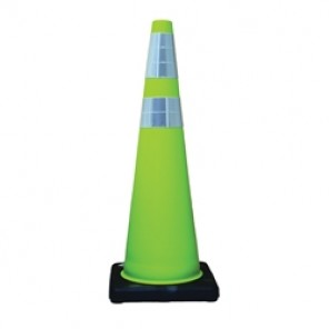 Cortina® 03-500-06LI DW Series Traffic Cone, 36 in H, Fluorescent Lime PVC Cone, Reflective