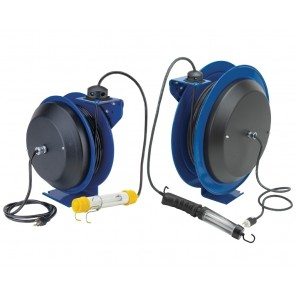 POWER CORD REELS, Includes Accessory: Single Industrial Receptical, AWG: 12 ga., Cords - # of Conductors-Length: 3-35', Amps: 20