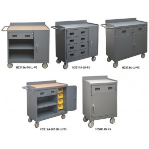 """MOBILE CABINETS w/DRAWERS, Size W x D x H: 18-1/4 x 42 x 38-1/4"""", Cap. (lbs.): 1200, No. of Drawers: 4, Work Surface: Tempered Hardboard"""
