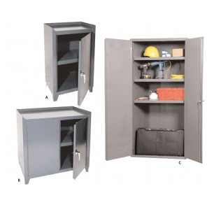 ALL WELDED STORAGE CABINETS, Photo Ltr. No.: A, No. Shelves: 1 fixed, Overall Size W x D x H: 21 x 15 x 34-1/2""