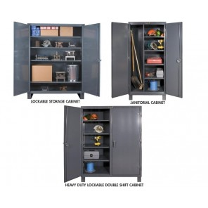 12 GAUGE HEAVY DUTY STORAGE CABINETS, Heavy Duty Lockable Double Shift Cabinet, Shelf Cap. (lbs.): 950